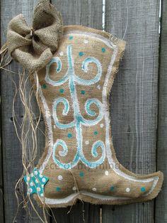 Burlap Cowboy Boot Burlap Door Hanger with Teal by nursejeanneg, $28.00