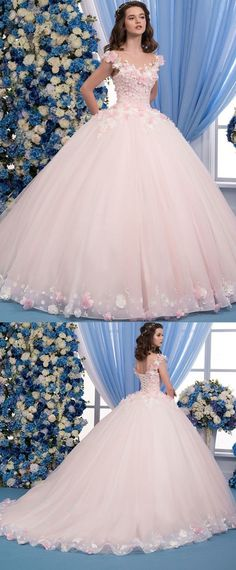 Wedding Dresses Ball Gown, Exquisite Tulle Sheer Jewel Neckline Ball Gown Wedding Dress With Lace Appliques & Flowers & Beadings, Exquisite Tulle Sheer Jewel Neckline Ball Gown Wedding Dress With Lace Appliques & Flowers & Beadings Para since. Xv Dresses, Cute Prom Dresses, Quince Dresses, Princess Prom Dresses, Ball Gown Dresses, Ball Gowns Prom, Dream Wedding Dresses, Wedding Gowns, Pretty Dresses