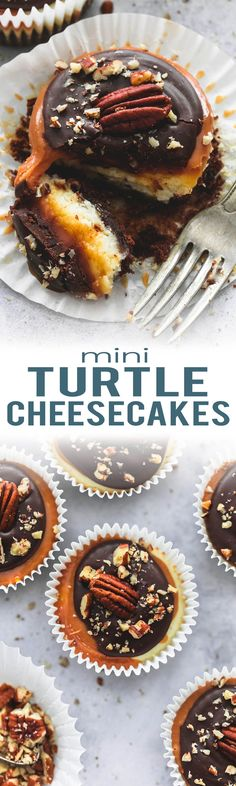 Mini Turtle Cheesecakes with a brownie bottom and topped with caramel, chocolate, and pecans. | lecremedelacrumb.com