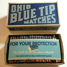 """Vintage FULL BOX of OHIO BLUE TIP MATCHES 2.25"""" long matches NOS / EUC"""