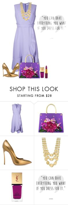 """Lavender Pastel Dress"" by shamrockclover ❤ liked on Polyvore featuring Carven, Carlo Zini, Casadei, Marco Bicego, Yves Saint Laurent and MAC Cosmetics"