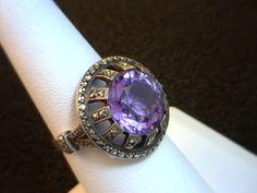 Roaring Twenties Silver, Amethyst and Marcasite Ring