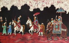 Royal Procession (Batik Painting on Cotton Cloth - Unframed))
