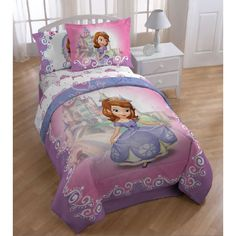 This bedding set features a gorgeous princess print called 'Introducing Sofia.' The machine washable set includes a comforter, sheet sets and a comfortable pillow buddy.