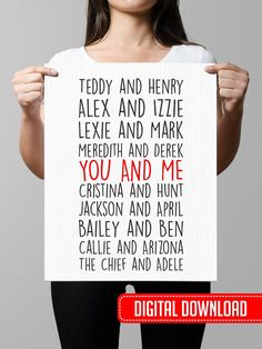 Grey's Anatomy  Couples Print wall art custom by OfflinePrintables
