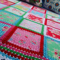 Patchwork crochet fabric fusion blend quilt by ScarletSometimes