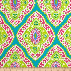 Michael Miller Coco Cabana Bazaar Medallion Aqua from @fabricdotcom  Designed for Michael Miller, this cotton print fabric is perfect for quilting, apparel and home décor accents. Colors include hot pink, lime, periwinkle and white on a dark aqua background.