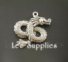 4pcs Antique Silver Alloy Dragon Charms Pendant by LeeSupplies