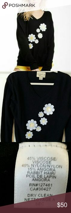 Wildfox Daisy Sash V Neck Sweater EUC Super cute and soft!  Has sequined daisies on front. I bought this used and haven't worn it. It is in like new condition. No flaws. Wildfox Couture Sweaters V-Necks