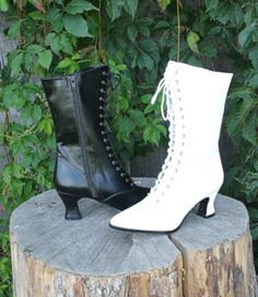 """Price: $49.95  Victorian boots with lace up front and side zipper. 2 3/4 """" heel. Black and white. 6-12"""