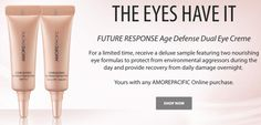 2 Free AMOREPACIFIC Future Response Age Defense Dual Eye Creme samples with ANY…