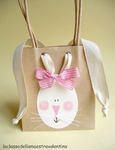 bunny gift bags using ribbon for ears