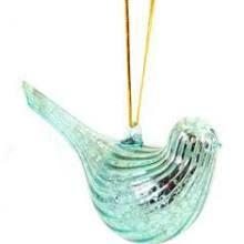 """4.5"""" Aqua Blue Mercury Glass Bird Christmas Ornament"""