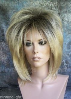 Lady A, Nirvana, Pre-teased wig, Drag Queen Wig, Regrowth, dark rooted, Golden Blonde