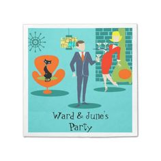 Retro Space Age Cartoon Couple Cocktail Napkins--#parties #cocktails #drinks #retro #1960s #martinis #Zazzle