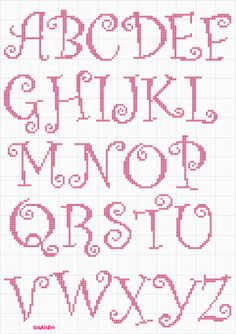 Whimsical Curly Caps 1 of 1 Monogram Cross Stitch, Cross Stitch Alphabet Patterns, Cross Stitch Numbers, Cross Stitch Baby, Cross Stitch Designs, Stitch Patterns, Embroidery Fonts, Embroidery Patterns, Hand Embroidery