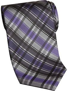 Platinum Designs Charcoal and Plum Plaid Extra Long Tie - Men's Accessories Mens Big And Tall, Big & Tall, Purple And Silver Wedding, Long Ties, Designer Clothes For Men, Tall Guys, Skinny Ties, Charcoal, Men Casual
