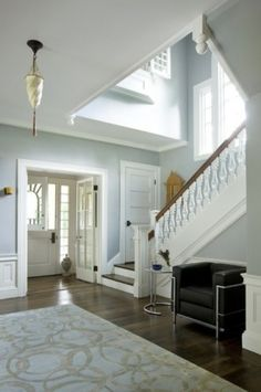 The Top 100 Benjamin Moore Paint Colors - site has beautiful rooms shots, organized by color, with the name of the color under each photo. I want this room. And is that a window that looks out into the foyer from the upstairs? Wall Colors, House Colors, Paint Colors, Colours, Hallway Colors, Bright Hallway, Soft Colors, Style At Home, Interior Paint
