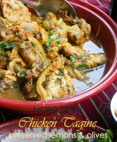 Moroccan Style Chicken Tagine with Preserved Lemons & Olives ... More
