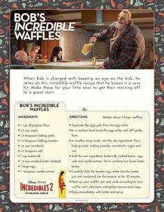 Incredible Waffles Recipe from Disney Pixar Incredibles 2 Disney Dishes, Disney Desserts, Disney Recipes, Disney Themed Food, Disney Inspired Food, Disney Cute, Disney Style, Comida Disney, Waffle Ingredients