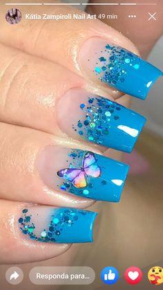 Manicure, Best Acrylic Nails, Pretty Nails, Nail Designs, Make Up, Nail Art, Blue Gel Nails, Glow Nails, Long Nails