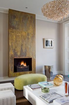 MIK Interiors - copper clad fireplace - Metall FX does similar Cozy Fireplace, Modern Fireplace, Fireplace Surrounds, Fireplace Design, Muebles Living, Interior Design Boards, European Home Decor, Simple House, Interior Decorating