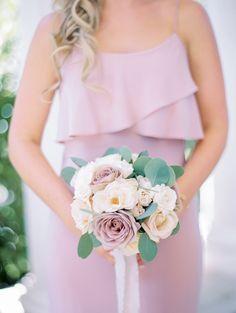 mauve bridesmaid dress and mauve wedding bouquet Romantic Wedding Colors, Mauve Wedding, Romantic Weddings, Wedding Locations California, California Wedding, Wedding Flower Guide, Wedding Flowers, Wedding Bells, Wedding Reception