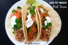 The shredded meat for these Crockpot Pork Tacos is also excellent on salads, nachos, and with rice! If you're looking for quick, easy, and versatile dinner recipes, this is for you! Add avocado. May use pork loin or pork shoulder/butt in place of tenderloin