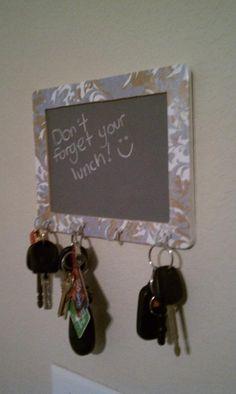 Chalkboard sign, mod podged, with key hooks