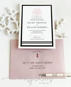 Elegant touches of nautical decor for a beautiful coastal wedding! Mailing Envelopes, Addressing Envelopes, Nautical Invitations, Cruise Wedding, Nautical Stripes, Classic Wedding Invitations, Ink Color, All Design, Thank You Cards