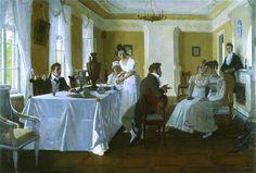 Пушкин в столовой в Тригорском