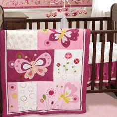 Pink Butterfly 3 Piece Crib Bedding Set