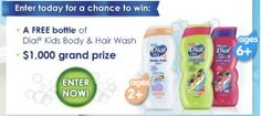 Enter to win a bottle of Dial Kids Body & Hair Wash