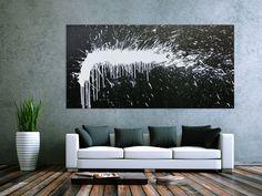 Modernes Acrylbild abstrakt schwarz weiß Modern Art 100x200cm von xxl-art.de