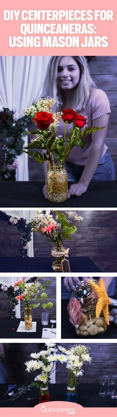 Quinceanera Centerpieces Ideas | Centerpieces wedding | Mason Jar Crafts | Mason Jar Centerpieces |