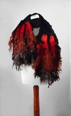 Felted Scarf Light Wrap Nunofelt Scarf RAW WOOL Red Black Scarves Felt Nuno felt Silk Eco shawl Boho Fiber Art