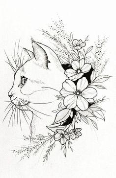 Tattoo Sketches 63829 Flamingo print tattoo print flamingo decor gifts for women flamingo gifts t - tattoos - DIY tattoo images # DIY # decor # flamingo Pencil Art Drawings, Cat Drawing, Animal Drawings, Animal Sketches, Drawing Ideas, Tattoo Sketches, Tattoo Drawings, Cat Tattoos, Tattoo Cat