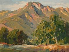 Hanson Puthuff - California Landscape, Oil on board, 12 x 16 Landscape Art, Landscape Paintings, Mountain Paintings, American Artists, Impressionist, Original Artwork, California, Coloring Book, Drawings