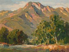 Hanson Puthuff - California Landscape, Oil on board, 12 x 16 Impressionist Paintings, Impressionism, Landscape Art, Landscape Paintings, Mountain Paintings, American Artists, Original Artwork, California, Environment