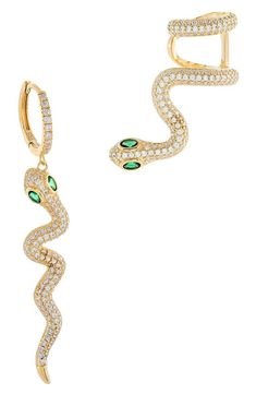 Charm them all with these vermeil snake earrings combining a huggie hoop and ear cuff, both bejeweled with sparkling pavé and hypnotic emerald-colored eyes.