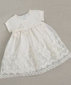 Take a look at this Ivory Flower Lace Dress - Infant on zulily today!