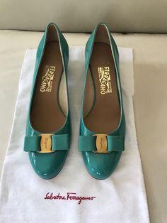 266378ee3be3 Salvatore FerragamoVarina Patent Ballerina Flat Aqua Size 8 1 2  fashion   clothing