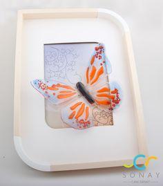 Cam kelebekler Butterfly fusion glass art, glass butterfly, orenge , decoration , frame