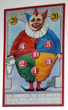 Clown game poster from a fabulous exhibit of circus toys we saw in Paris in This hangs in the doorway to my studio. Creepy Circus, Halloween Circus, Creepy Carnival, Circus Clown, Scary Clowns, Funny Clowns, Haunted Carnival, Carnival Posters, Circus Poster