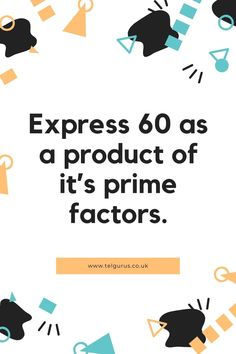 As we know that 60 is a whole number and a composite number (divisible by more than 2 numbers). Let us find the prime factors of 60 by the following method. 1st step – Divide 60 with its smallest prime factor, which is 2 60/2 = 30 continuethis solution on the website Story Instagram, Instagram Tips, Way To Make Money, Make Money Online, Schulz Von Thun, Dance Tutorial, Le Cv, College Planner, Budget Planer