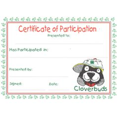 Recognize youngest members with a Participation Certificate. Multi color imprint on 60 lb. 4 H Clover, Service Projects For Kids, Project 4, Recorded Books, Certificate, Preschool, Presents, Clovers, Ffa