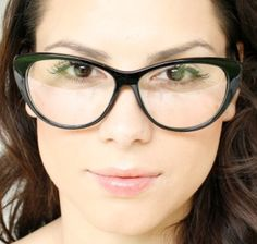 Cat Eye Clear Lenses Black Frame Womens Vintage Eyeglasses Glasses