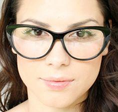 Cat Eye Clear Lenses Black Frame Womens Vintage Eyeglasses Glasses