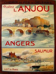 1920s Original French Railway Poster Visitez L'Anjou (Angers Saumur) A. Dubos #1920 #1920s