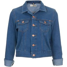 TOPSHOP MOTO 70s Blue Denim Western Jacket (2.895 RUB) ❤ liked on Polyvore featuring outerwear, jackets, tops, denim, blue, denim jacket, cowboy denim jacket, western jackets, blue jackets and topshop jackets